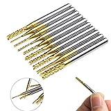 'eclear 10pcs PCB Set de forets métal HSS spirale HSS Micro Rotary CNC SMT Fraise 1/80.8–3.175mm