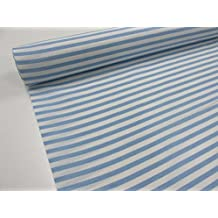 Metraje 0,50 mts tejido loneta estampada Ref. Rayas Blanco Azul Bebé, con
