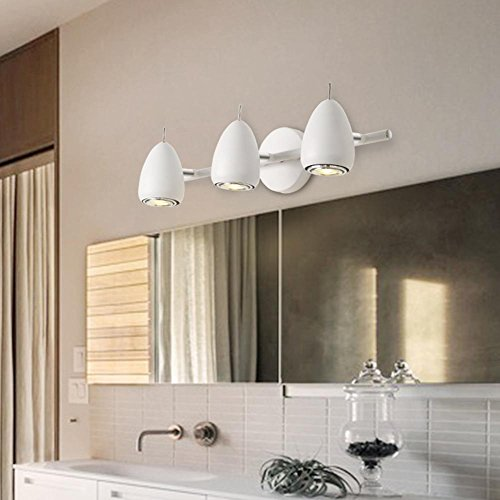 Wandlampe, Badezimmerlampe Seeksung moderne minimalistische LED Eiform E27 * 3 Badezimmer Wohnzimmer Treppenlampen 220V 360 ° keine toten Winkel Beleuchtung schwarz weiß 3 Kopf , A ()