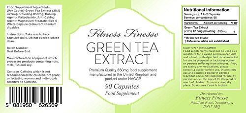 Grüntee-Extrakt 850 mg – 90 Kapseln zum Abnehmen