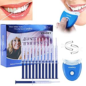 Teeth Whitening Kit, Vsadey Wiederverwendbares Zahnaufhellungs Set Zu Hause, Professionelles Zahnbleaching Kit entfernt Ablagerungen und Verfärbungen für weiße Zähne, Ohne Peroxid-12x Teeth Whitening