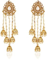 Shining Diva Fashion Jewellery Gold Plated Stylish Fancy Party Wear Pearl Jhumka Jhumki Traditional Earrings For...