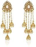 #5: Shining Diva Fashion Jewellery Gold Plated Stylish Fancy Party Wear Pearl Jhumka Jhumki Traditional Earrings For Women & Girls