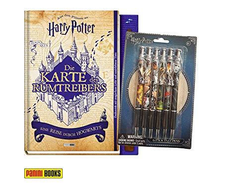 Panini Verlag Die Karte des Rumtreibers - Eine Reise durch Hogwarts (Gebundenes Buch) + 1. original Harry Kugelschreiber (Mit Potter Zauberstab Karte Harry)