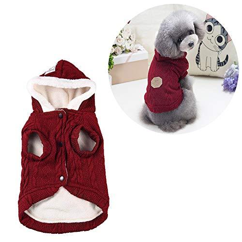 Petilleur Cappotto Cane Gatto Invernale Cappottino Maglioncino per Cani di Taglia Piccola (L, Rosso)
