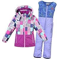 LPATTERN Chaquetas de Esquí para Niños Niñas Conjunto 2 Piezas Abrigo con Capucha + Pantalones de Nieve Traje de Invierno, Violeta, Talla:104/3-4 años