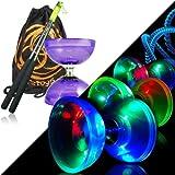 Cyclone Quartz Viola 2 Glow Diabolo Set w/ Aste in metallo Diablo, LED Kit & Borsa