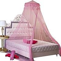 KKMore nueva ronda de encaje cortina Dome Bed Canopy Red Princesa Mosquitera (rosa)