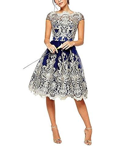 BIUBIU Women's Elegant Cap Sleeve Embroidered Vintage Lace Midi Prom Evening Dress Navy UK 14
