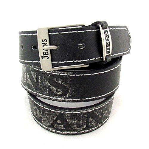 Gürtel Jeans Classic Aufschrift in mehreren Farben 3,7 cm Breit (110 cm, schwarz)