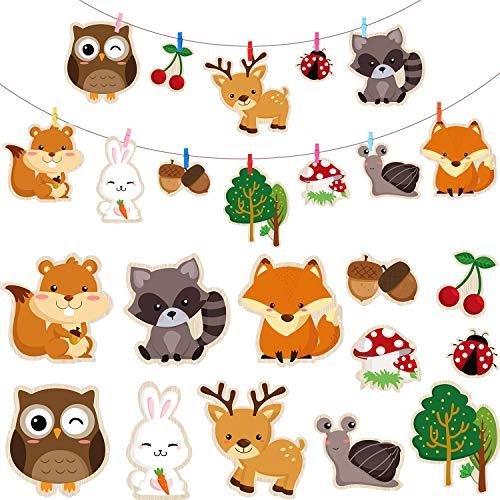 Blulu 36 Stücke Wald Kreaturen Party Lieferungen, 5,90 x 7,87 Zoll Laminiert Waldtier DIY Baby Dusche, Waldtier Ausschnitte mit 30 Farbe Clips für Wald Tier Thema Party