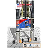 EuroLadderSystems Aluminium Stores at 3.6 ft Zero Flex Technology Rock Solid Pro Telescopic Ladder with Red Que Safe Step, Stabilizer Anti Skid Feet and Wheel Kit (Silver, Black, 5.2 m, 17.3 ft)