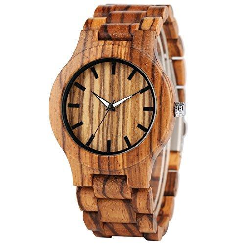 Creative Wooden Watch Mens Analog Bamboo Band Strap Nature Wood Wristwatch