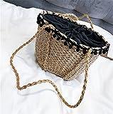 Rrock Frauen Handtasche Stroh Tasche Haar Ball Spitze Strand Tasche Einfarbig Einfache Umhängetasche Messenger Tasche Weben Zweifarbig,Brown