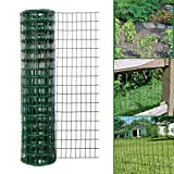 Simpa Multipurpose 1M x 10M - Green PVC Coated Galvanised Steel Wire Garden Fencing Roll - Mesh Hole Spacing 10.16cm x 5.08cm