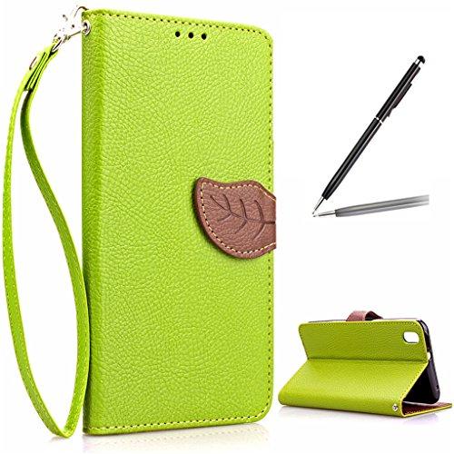Trumpshop Smartphone Schutz Schale Tasche Handyhülle für HTC Desire 816 + Grün + PU Lederhülle Flip Etui Hülle SchutzHüllen Bookstyle Hand Seil Standfunktion Kredit Kartenfächer