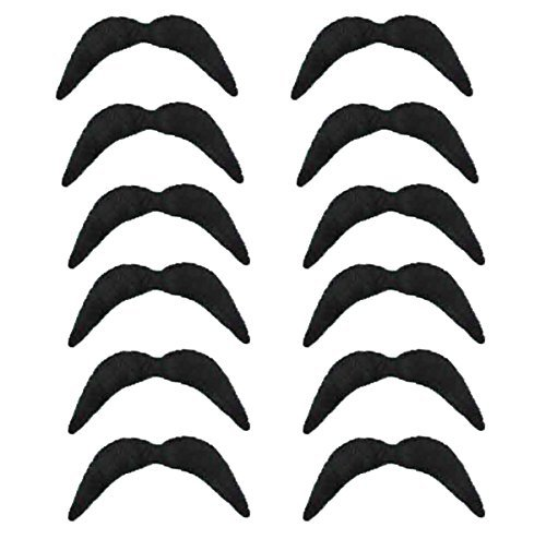 12 x BLACK NOVELTY MEXICAN TASH BIKER 70'S MOVEMBER 118 FANCY DRESS MOUSTACHE by Red Star (Moustache Fancy Dress)
