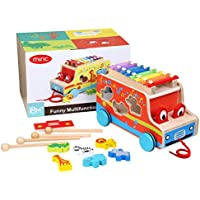 Miric Xylophone, Pull Toy Wooden Shape with Colorful Keys, 8 Tones for Baby Learning Music