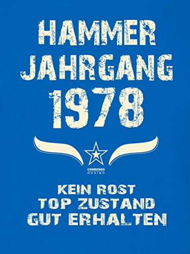 Geschenk Set : Geschenkidee Papa Vater 39. Geburtstag ::: Hammer Jahrgang 1978 ::: Herren T-Shirt Geburtstagsgeschenk für Männer ::: Farbe: schwarz Royal-Blau