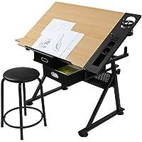 MIADOMODO Schreibtisch mit Zeichenfunktion Zeichentisch Bürotisch Atelier Kunsttisch Arbeitstisch belastbar inkl. 2 große Schubladen und Hocker bis ca. 60 kg