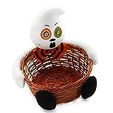Yeahlvy Caramelos de Halloween Cestas Tejidas a Mano para niños Portapasteles Fruteros Canasta para Fiestas Decoraciones Familiares Decoraciones de Truco o Trato-Fantasma