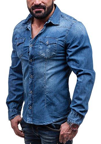 BOLF - Camicia casual - maniche lunghe - Jeans - JACK BERRY 3005 - Uomo - S Blu [2B2]