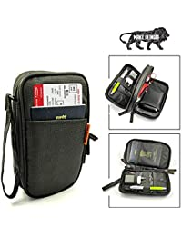 SMILEDRIVE Dual Layer Travel Passport Gadget Bag Holder With Adjustable Trolley-Bag Handle Strap - Made In India