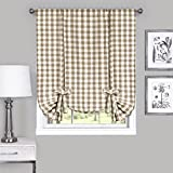 Buffalo Check Plaid Gingham Custom Fit Window Curtain Treatments By GoodGram - Assorted Colors, Styles & Sizes (Tie Up Shade, Taupe) by GoodGram®