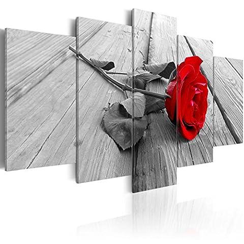 murando Bilder 200x100 cm - Leinwandbilder - Fertig Aufgespannt - Vlies Leinwand - 5 Teilig - Wandbilder XXL - Kunstdrucke - Wandbild - Rose romantisch Liebe rot grau b-B-0025-b-m