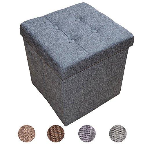 Stylehome® Sitzbank Sitzhocker Aufbewahrungsbox mit Stauraum faltbar belastbar bis 300 kg Leinen 38 x 38 x 38 cm (Grau)