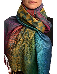Large Ombre Paisley & Diamond On Prussian Blue Pashmina Feel With Tassels - Blue Pashmina Floral Scarf