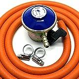 Regolatore per gas butano con tubo flessibile da 2 m e 2clip che funzionano con cilindri Calor Gas/Flogas da 21mm