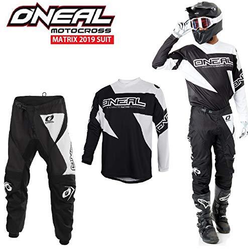 NEU MOTORRADANZUG ONEAL MATRIX 2019 Erwachsener Motocross Rennkleidung Hose Jersey Off-road Anzug MX Quad Track Sportkleidung, Zweiteilige Kombinationen, Schwarz-Weiss (L-34) Off Road Hose Riding Gear