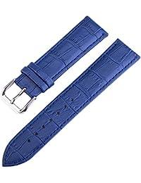 20 mm de alta calidad azul correas de reloj de cuero clásico correas de reemplazo para los hombres del cuero genuino de la vaca
