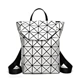 T-Tosney Géométrique à carreaux à carreaux femme sacs à dos pour les filles adolescentes sac d'école sac à cordon sacs à dos Silver