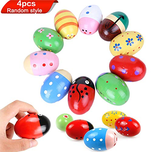 Children Kids Baby Wooden Sand Eggs Egg Instruments Percussion Musical Toys 4PCS
