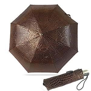 Pierre cardin parapluie jacquard marron crocodile