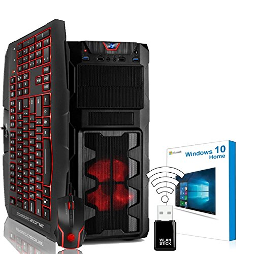 "AGANDO Silent Gaming PC-Komplettpaket | Intel Core i5 7400 4x 3.5GHz | Turbo 4.1GHz | AMD Radeon RX 460 4GB | 16GB RAM | 1000GB HDD | DVD-RW | USB3.1 | 55cm (22"") TFT | Gaming-Tastatur | Gaming-Maus | WLAN | Windows 10 | 36 Monate Garantie | Computer für Multimedia, Gaming, Büro/Office"