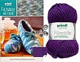 3x50 Gramm Gründl Filzwolle Uni Wolle SB-Pack Wollset inkl. Anleitung für Gestreifte Filzhausschuhe mit 2 Strasssteine Zum aufnähen 11 Lila