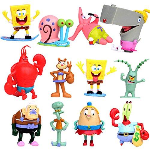 ONOGAL Bob Esponja Colección de 12 personajes figuras 2 Spongebob Calamardo Patricio Señor Cangrejo Arenita Plancton Gari Spongebob TritonMan Larry Perlita y Señora Puff 4710