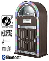Vinyl Record Player Jukebox - CD Player Jukebox - BLUETOOTH Jukebox / Speaker - Multi Functional - Radio - 3.5mm Jack Aux IN / Bluetooth Link to iPhone, Samsung Galaxy, Sony Xperia, etc - Floor Stand