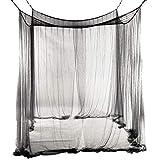 LAMF Rechteckiges großes Moskitonetz mit feinem Netz zum Aufhängen für Doppelbett-Vorhänge, perfekt für drinnen und draußen, Netzstoff, Schwarz, 5.7'*6.3'*7.2'(190 * 210 * 240cm)