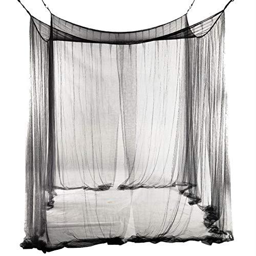 JYCRA Moskitonetz für Doppelbett, rechteckig, einfarbig, Betthimmel, Betthimmel mit 4 Öffnungen, einfache Installation, Polyester, Schwarz, 190cm x 210cm x 240cm