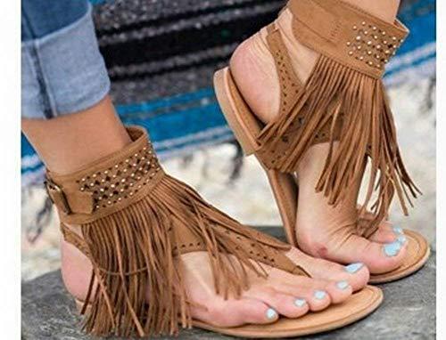 Quaste Offene Zehe Strass Flipflop Flache Sandalen Schuhe Große Hof (Farbe : Braun, Größe : 43) (Botas De Mujer Altas)