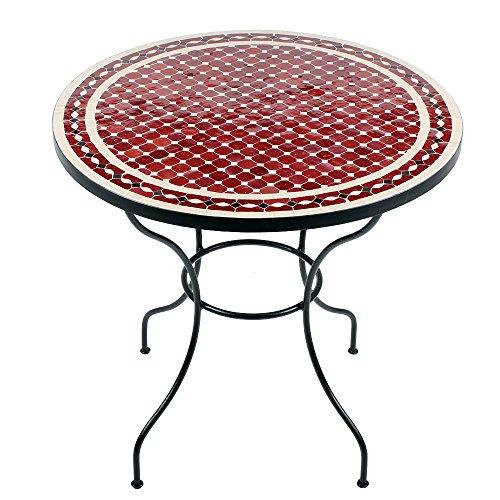 Marokkanischer Mosaiktisch 80cm rund Gartentisch Bistrotisch Terrassentisch Fliesentisch (Renak: rot/natur/schwarz)