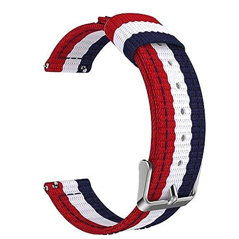 MoKo Samsung S2 & S2 Classic Armband, universal 20mm Nylon Uhrenarmband Erstatzband Uhr Band Watchband für Daniel Wellington 40mm, Pebble Round, Moto 360 2nd Gen Men's 42mm, Ticwatch 2nd, Huawei Watch 2, Blau/Weiß/Rot