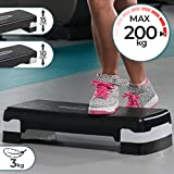 Aerobic Steppbrett | 2-Stufen (10 / 15 cm) Höhenverstellbar, Anti-Rutsch Gummibezug, max. 200kg | Fitness Stepper, Stepboard, Stepbank