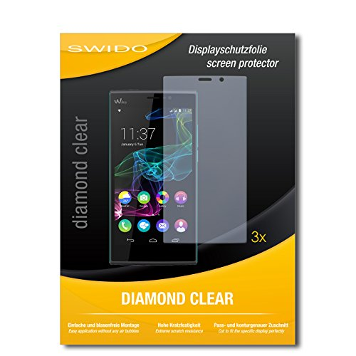 SWIDO 3 x Schutzfolie Wiko Ridge Fab 4G Bildschirmschutz Folie DiamondClear unsichtbar