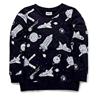 Boys Sweatshirt Kids Space Rocket Jumpers Little Boys Space Shuttle Pullover Unisex Kids Spaceship Long Sleeve Sweater Casual Cotton Tops, 3-4 years, Black