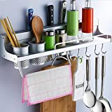 Utensil Rack, K.MAX Utensil Hanging Rail Rack Storage Stand Kitchen Utensils Wall Mounted Tidy Hooks